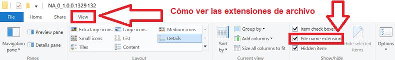 Si no ve la extensión de archivo (.inf):
